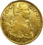 COLOMBIA. 1820-FM-P 8 Escudos. Popayán mint. Ferdinand VII (1808-1833). Restrepo M128.35a. AU Detail