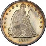 1866 Liberty Seated Silver Dollar. OC-1. Rarity-2. Repunched Date, Doubled Die Reverse. MS-66+ (PCGS