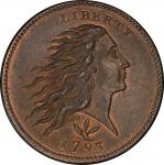 1793 Flowing Hair Cent. Sheldon-9. Rarity-2. Wreath. Vine and Bars Edge. Mint State-67 RB (PCGS).