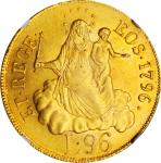 ITALY. Genoa. 96 Lire, 1796. NGC MS-62.