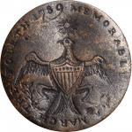 1789 Washington Inaugural Button. MEMORABLE ERA. Cobb-4, DeWitt-GW 1789-4, Baker-1010. Brass. Fine.