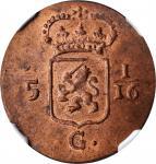 1808年荷兰巴达维亚共和国1Duit。NETHERLANDS EAST INDIES. Batavian Republic. Duit, 1808. NGC MS-64 Red Brown.