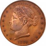 1879 Pattern Metric Dollar. Judd-1623, Pollock-1819. Rarity-7-. Copper. Reeded Edge. Proof-65 RD (PC