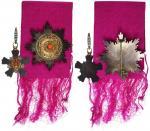 清朝二等三级双龙宝星勲章,正副章及紫红绶带,另附一封法文书写三等二级双龙宝星勲章颁授信函,罕见。
