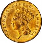 1855 Three-Dollar Gold Piece. MS-61 (PCGS).