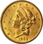 1863 Liberty Head Double Eagle. MS-60 (PCGS).
