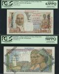 Martinique, Caisse Centrale de la France dOutre Mer, lot of 2 specimens, serial numbers 0.000 00000