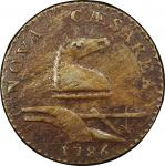 1786 New Jersey copper. Maris 26-S. Rarity-5+. Straight Plow Beam. EF Detail, Environmental Damage (