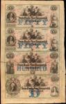 New Brunswick, New Jersey. State Bank of New Brunswick. (ND) Uncut Sheet of $50-$50-$100-$500. Extre
