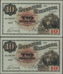 Sveriges Riksbank, 10 kronor (2), 1932, consecutive serial numbers SS.194056/057, black, pale blue a