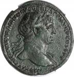 TRAJAN, A.D. 98-117. AE Sestertius (28.95 gms), Rome Mint, ca. A.D. 109-110. NGC Ch EF, Strike: 5/5