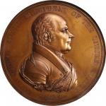 1825 John Quincy Adams Indian Peace Medal. Bronze. 76 mm. Julian IP-11. First Reverse. MS-65BN (NGC)