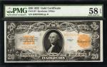 Fr. 1187. 1922 $20 Gold Certificate. PMG Choice About Uncirculated 58 EPQ.