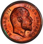 BRITISH INDIA: Edward VII, 1901-1910, AE ¼ anna, 1904(c), KM-501, proof restrike, PCGS graded Proof