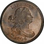 1804 Draped Bust Half Cent. Cohen-8, Breen-7. Rarity-1. Spiked Chin. Mint State-66 BN (PCGS).