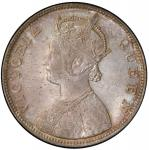 BRITISH INDIA: Victoria, Queen, 1837-1876, AR rupee, 1862(b), KM-473.1, S&W-4.72, 0/4 type, PCGS gra
