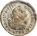 COLOMBIA. 1774-JS 1/2 Real. Popayán mint. Carlos III (1759-1788). Restrepo 34.2. EF-45 (PCGS).