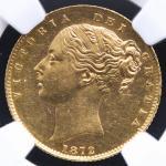 GREAT BRITAIN Victoria ヴィクトリア(1837~1901) Sovereign 1872 NGC-AU58 EF+