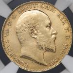 "GREAT BRITAIN Edward VII エドワード7世(1901~10) Sovereign 1910 NGC-AU Details""Polished"" 磨き EF"
