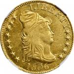 1806 Capped Bust Right Half Eagle. BD-5. Rarity-7. Pointed 6, Stars 8x5. MS-60 (NGC). CAC.
