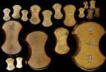 一套黄铜砝码十八件。 CHINA. Set of Brass Tael Weights (18 Pieces), ND. Grade Range: VERY FINE to EXTREMELY FIN