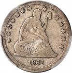 1866-S Liberty Seated Quarter. Briggs 1-A, the only known dies. VG-8 (PCGS).