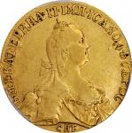 RUSSIA. 10 Rubles, 1773-CNB. St. Petersburg Mint. Catherine II (the Great). PCGS EF-40 Gold Shield.