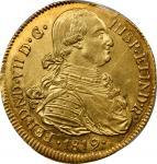 COLOMBIA. 8 Escudos, 1819-P FM. Popayan Mint. PCGS AU-58 Gold Shield.