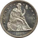 1863 Liberty Seated Silver Dollar. OC-1. Rarity-3-. MS-64 (PCGS).