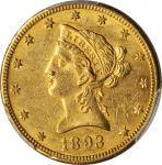 1893-O Liberty Head Eagle. Winter-1, the only known dies. AU-58 (PCGS).