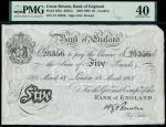 1901年英格兰银行博恩5镑 PMG XF 40
