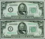 Lot of (2) Fr. 2103-I & Fr. 2102-I. 1934A & 1934 $50 Federal Reserve Notes. Minneapolis. PMG Choice