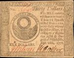 CC-83. Continental Currency. September 26, 1778. $30. About Uncirculated.