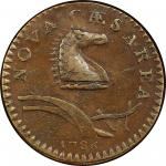 1786 New Jersey copper. Maris 24-P. Rarity-2. Narrow Shield, Curved Plow Beam. AU-55 (PCGS).