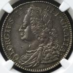 GREAT BRITAIN George II ジョージ2世(1727~60) 1/2Crown 1745 NGC-MS62 AU/UNC