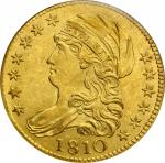 1810 Capped Bust Left Half Eagle. BD-4. Rarity-2. Large Date, Large 5. MS-63 (NGC).