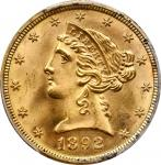 1892 Liberty Head Half Eagle. MS-66+ (PCGS).
