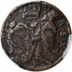 Undated (ca.1663-1672) St. Patrick Halfpenny. Vlack 5-D, W-11540. Copper. Reeded Edge. VF Details--E