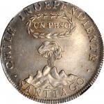 CHILE. Peso, 1817-SANTIAGO FJ. Santiago Mint. NGC AU Details--Reverse Scratched.