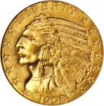 1908-D Indian Half Eagle. MS-63 (NGC).