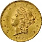 1852 Liberty Head Double Eagle. MS-60 (PCGS).
