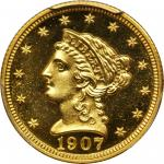 1907 Liberty Head Quarter Eagle. Proof-65+ Cameo (PCGS). Gold Shield Holder.