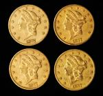 Lot of (4) 1877-CC Liberty Head Double Eagles. EF-AU (Uncertified).