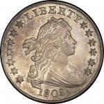 1802/1 Draped Bust Silver Dollar. Bowers Borckardt-232, Bolender-4. Rarity-3. Narrow Date. Mint Stat