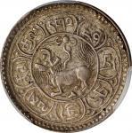 西藏桑松果木五钱狮子 PCGS AU 53 CHINA. Tibet. 5 Sho, BE 15-50 (1916)