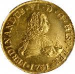 CHILE. 8 Escudos, 1751-So J. Santiago Mint. Ferdinand VI. NGC MS-63.