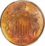1873 Two-Cent Piece. Open 3. Unc Details--Harshly Cleaned (PCGS).