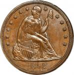 1852 Pattern Liberty Seated Dollar. Restrike. Judd-134, Pollock-161. Rarity-7+. Copper. Reeded Edge.