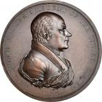 1825 John Quincy Adams Indian Peace Medal. First Size. Original Reverse. Bronzed Copper. 76 mm. By M