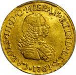 COLOMBIA. 1761-J 2 Escudos. Popayán mint. Carlos III (1759-1788). Restrepo 58.4. EF Detail — Ex Jewe